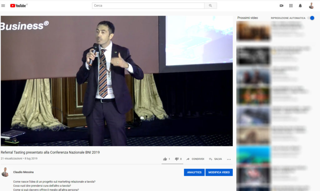 Referral Tasting - Claudio Messina - Video YouTube a Baveno BNI 2019
