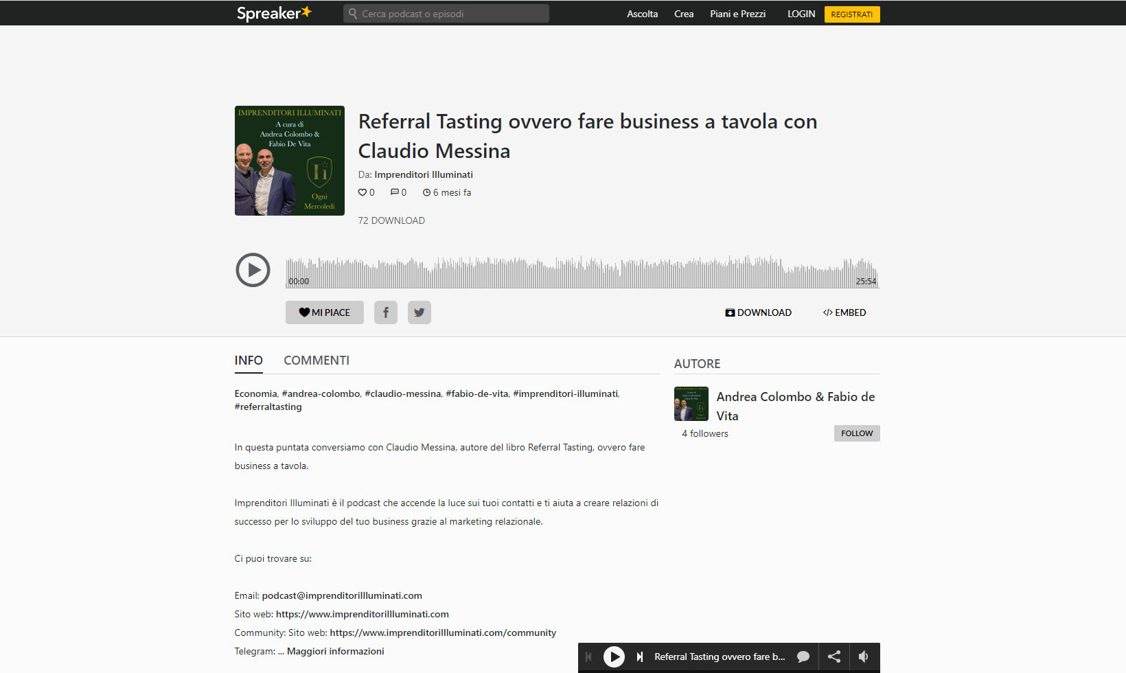 Referral Tasting - Claudio Messina - Podcast di Imprenditori Illuminati su Referral Tasting