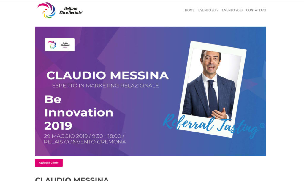 Referral Tasting - Claudio Messina - Bollino Etico Sociale evento - Be Innovation
