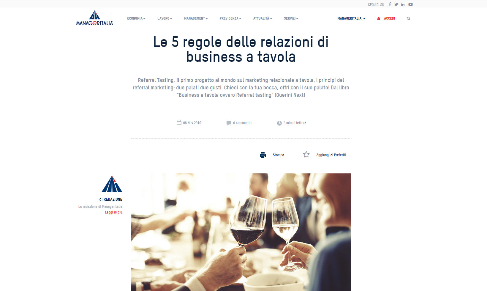Referral Tasting - Claudio Messina - Manager Italia novembre 2019